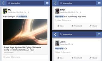 Facebook cho phép tìm kiếm thông tin trong status