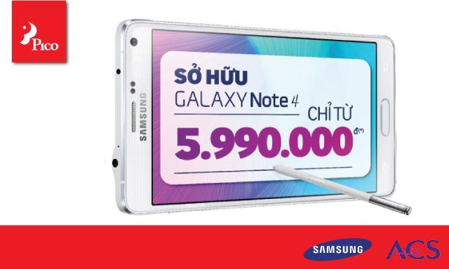 Ưu đãi mua trả góp Samsung Galaxy Note 4 với ACS tại Pico