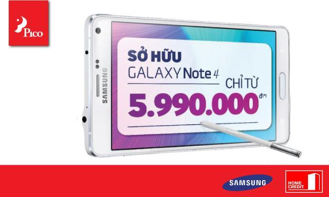 Ưu đãi mua trả góp Samsung Galaxy Note 4 với Home Credit tại Pico