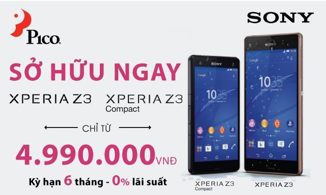 Mua trả góp điện thoại Sony Z3 & Z3 Compact lãi suất 0%