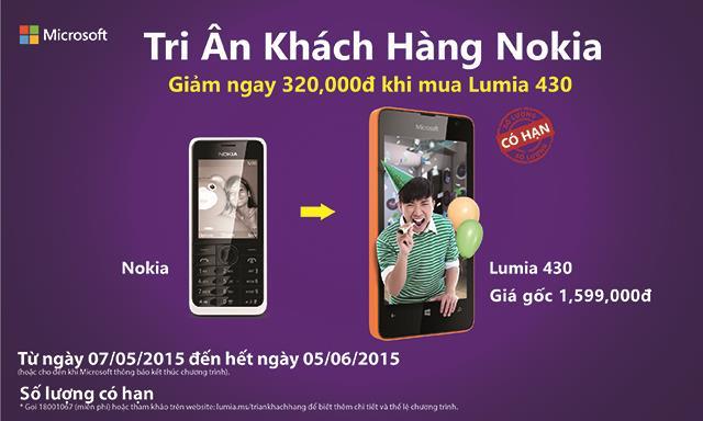 Tri ân Khách hàng Nokia  - Lên đời Lumia 430 với giá giảm 320,000Đ