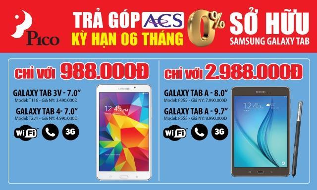 Mua trả góp Tablet Samsung lãi suất 0% tại Pico