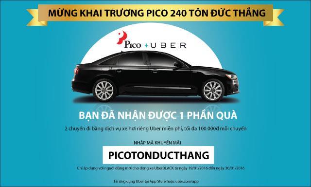 Tặng ngay 02 chuyến đi Uber miễn phí mừng khai trương