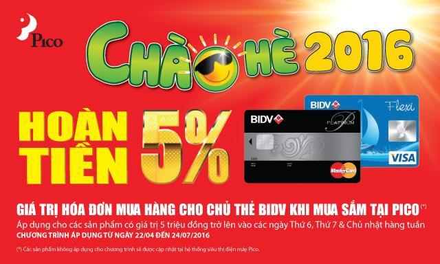 Hoàn tiền 5% cho chủ thẻ BIDV khi mua sắm tại Pico các ngày cuối tuần