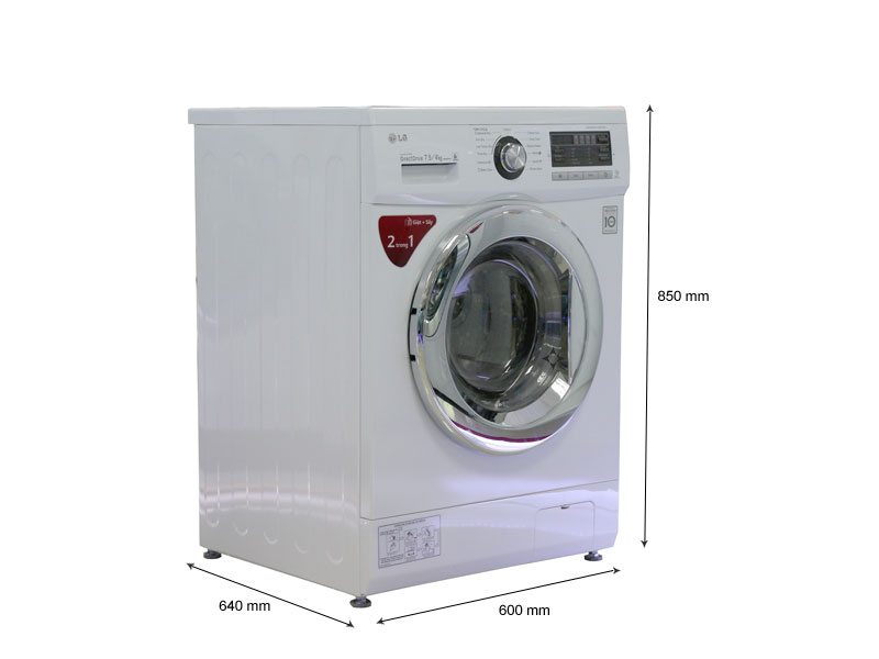 Kích thước - Máy giặt LG WD18600 - 7,5Kg giặt  4kg sấy - D.D