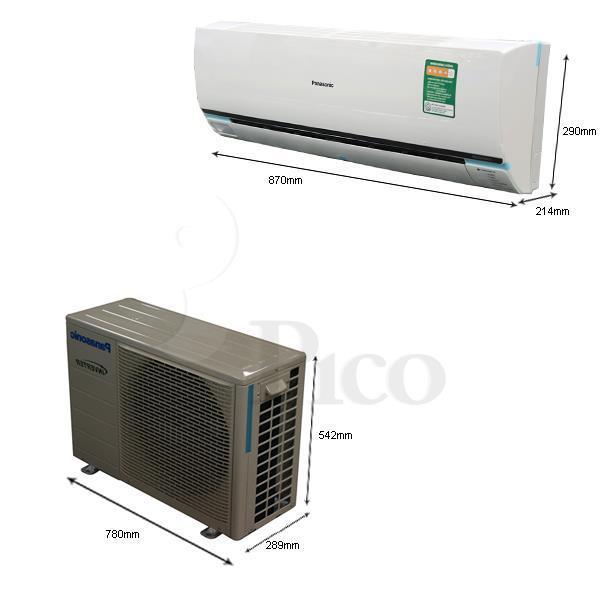 Kích thước - Điều hòa Panasonic E9PKH-8 - 9.000BTU - 2 chiều, inverter.