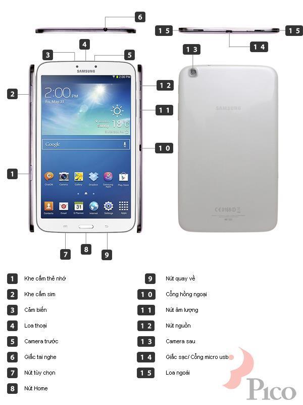 Mô tả chức năng - Máy tính bảng Samsung Galaxy Tab3 8 inches - T311