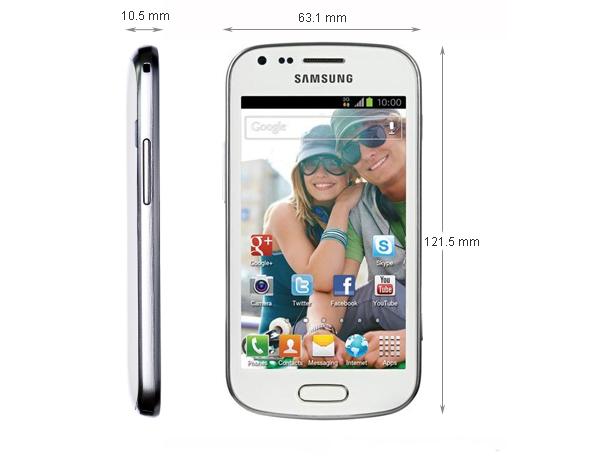 Kích thước - Điện thoại di động Samsung Galaxy Trend - S7560 Trắng
