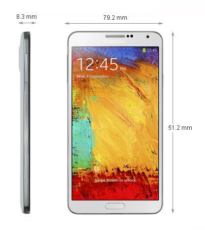 Kích thước - Điện thoại di động Samsung N9000 Đen - Galaxy Note 3