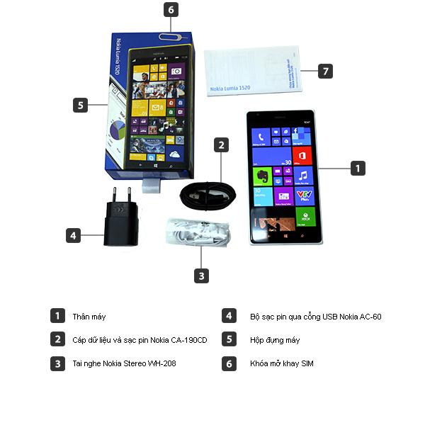 Bộ bán hàng chuẩn - Điện thoại di động Nokia Lumia 1520 trắng