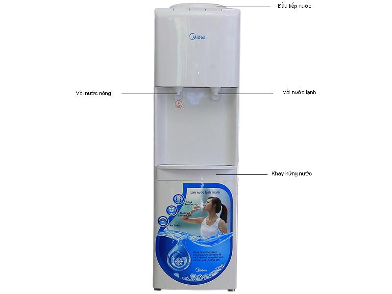 Cây nước nóng lạnh MIDEA YL1241S, CS 520W màu trắng