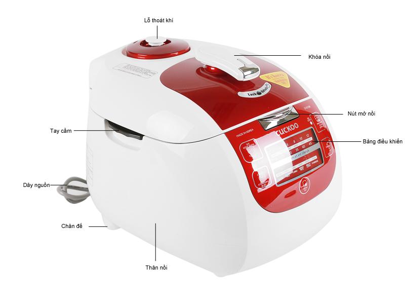 Nồi cơm điện tử CUCKOO CRPG1015MR 1.8L,1100w, á.suất, m.đỏ