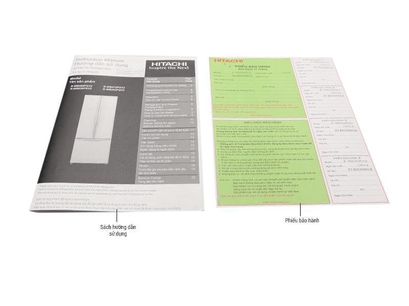 Bộ bán hàng chuẩn - Tủ lạnh Hitachi WB545PGV2GBK 429 lít, 3 cửa, màu đen