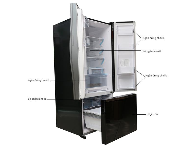 Mô tả chức năng - Tủ lạnh Hitachi WB545PGV2GBK 429 lít, 3 cửa, màu đen