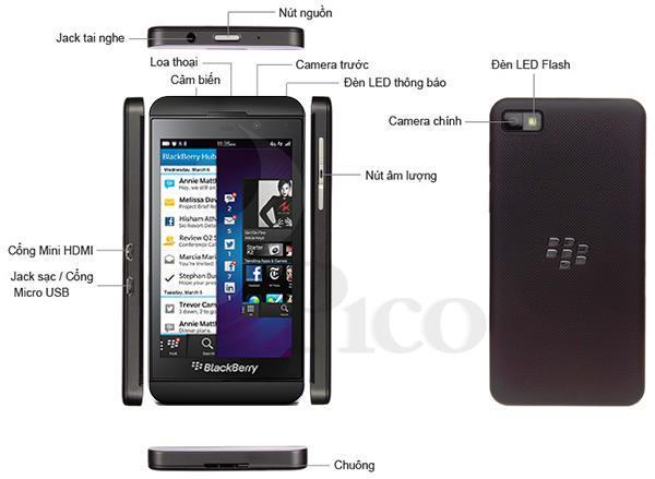 Mô tả chức năng - Điện thoại di động Black Berry Z10 màu đen