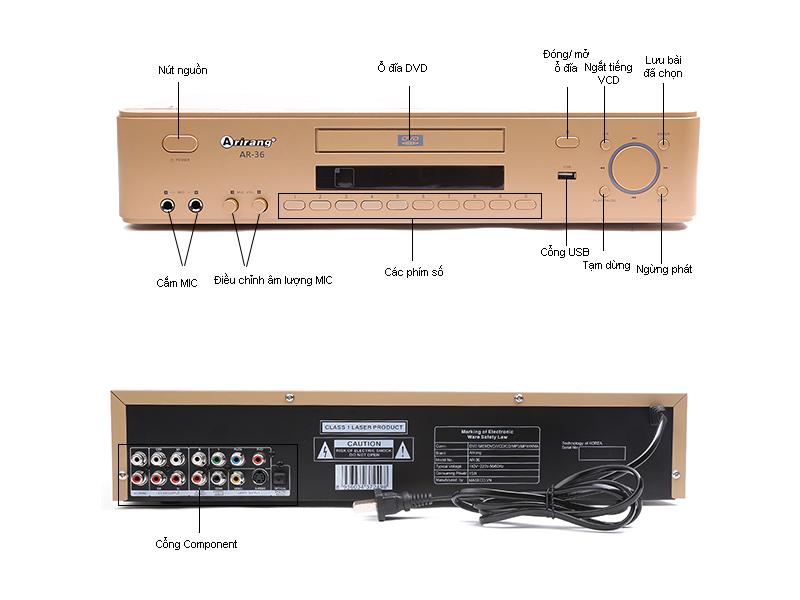 Đầu Karaoke MIDI Arirang AR36,USB, màu Vàng
