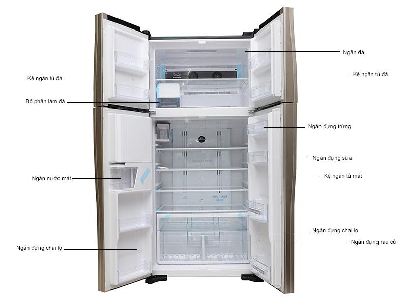 Tủ lạnh Hitachi W660FPGV3XGBK -540lit -4cửa - inverter - Lấy nước ngoài, màu đen
