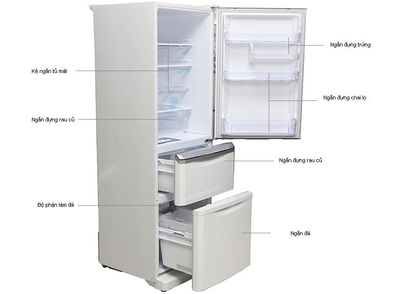 Tủ lạnh MITSUBISHI MRC41GPWHV - 338L, 3 cửa