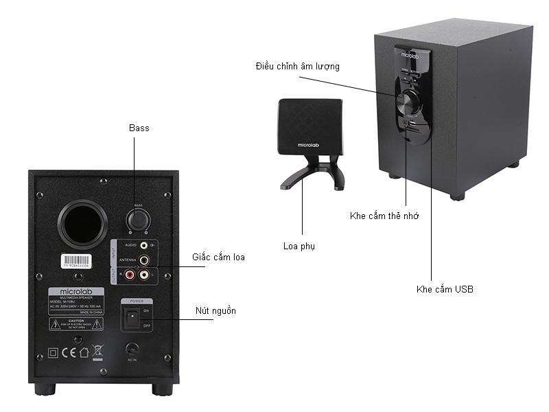Loa Microlab M108 2.1 tích hợp USB, thẻ nhớ
