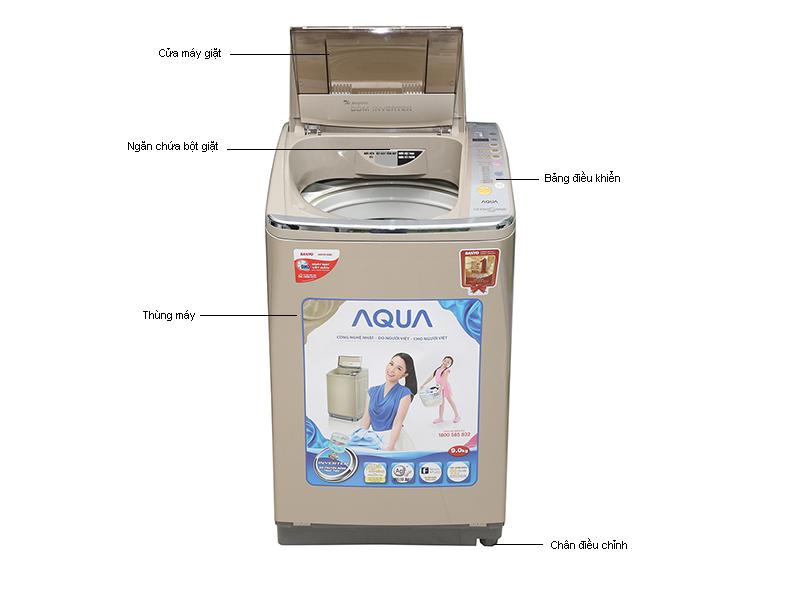 MG Aqua AQWDQ900HTN- 9.0kg L.ngiêng Sóng siêu âm, màu vàng kim, DD
