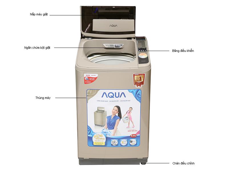 Máy giặt Aqua AQWU800Z1TN, 8kg lồng nghiêng sóng siêu âm