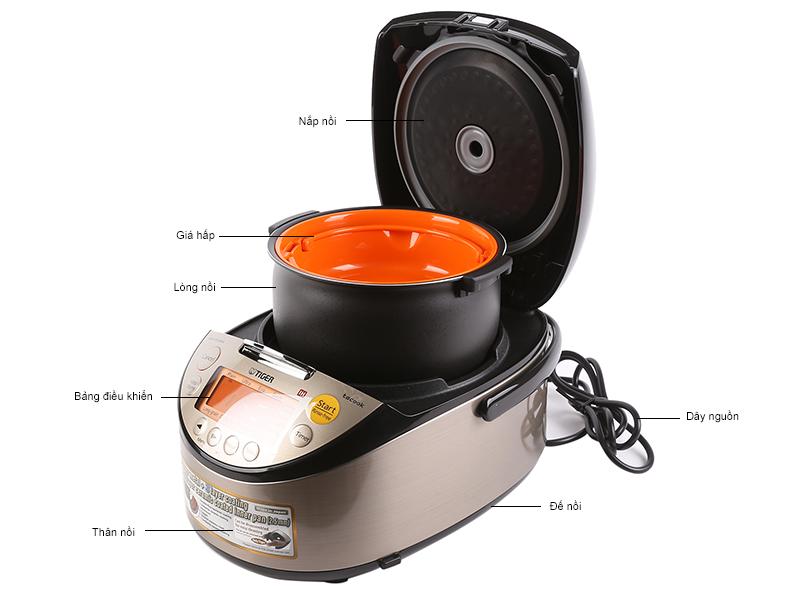 Nồi cơm điện tử cao tần TIGER JKTS18W, 1.8 lít, có nấu nhanh, hầm làm bánh, Nhật