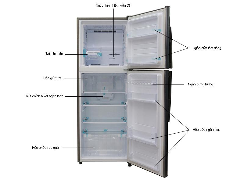 Tủ lạnh Sharp SJX315EMS - Inverter 287lít Màu bạc Inox