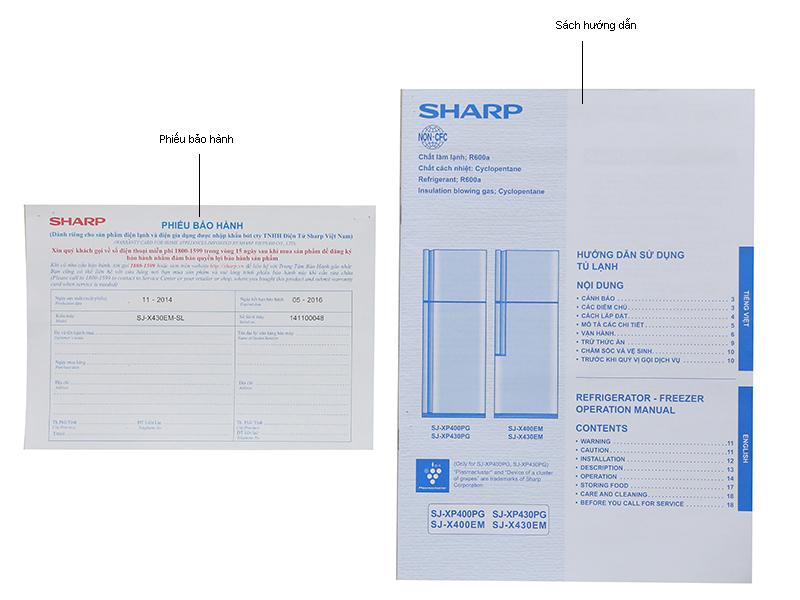 Tủ lạnh Sharp SJX430EMSL- Inverter 431lít Màu bạc kim loại