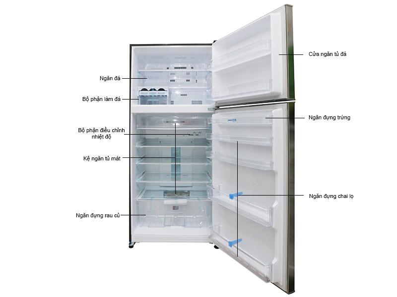 Tủ lạnh MITSUBISHI MRF62EHSTV 510L, 2 cửa Inverter,Thép không gỉ