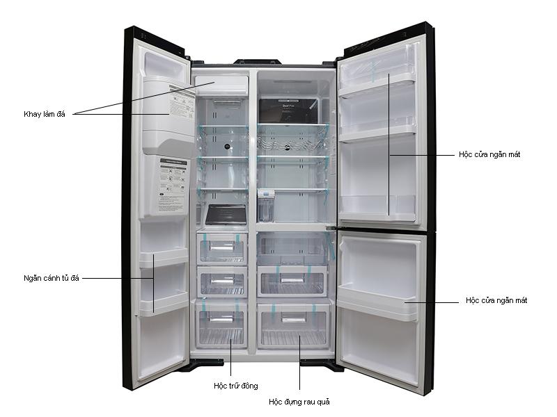 Tủ lạnh SBS Hitachi  RM700AGPGV4XDIA - 584 lít -Inverter, 3 cửa, Màu đen ánh vàng