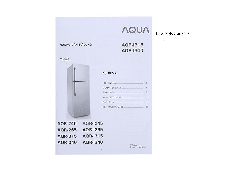 Tủ lạnh Aqua AQRI340SK - 344L , Inverter  ,Màu thép không gỉ