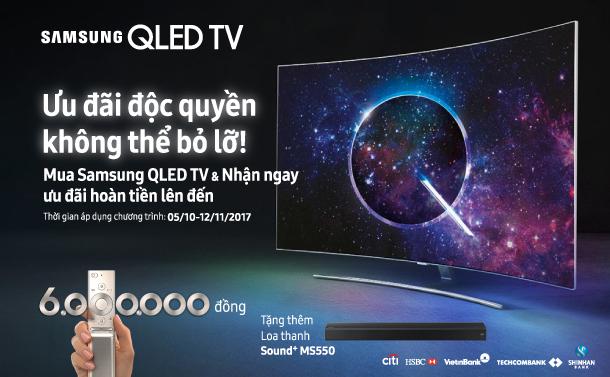 ưu đãi hoàn tiền lên đến 6 triêu đồng khi mua tv samsung