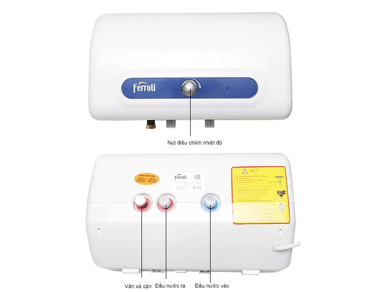 Bình tắm nóng lạnh FERROLI QQEVO15TEEH 15L- 3 công suất - Màu xanh