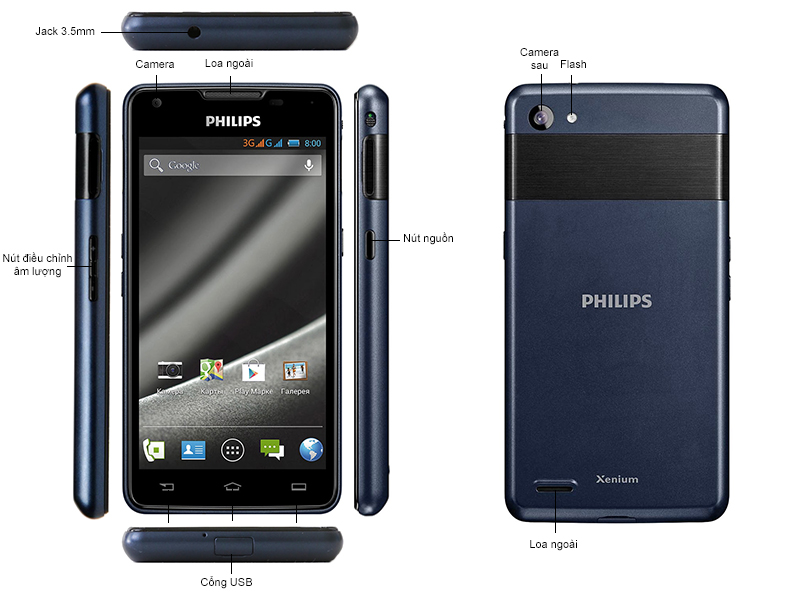 Philips W6610 Navy  - kèm sim khuyên mại