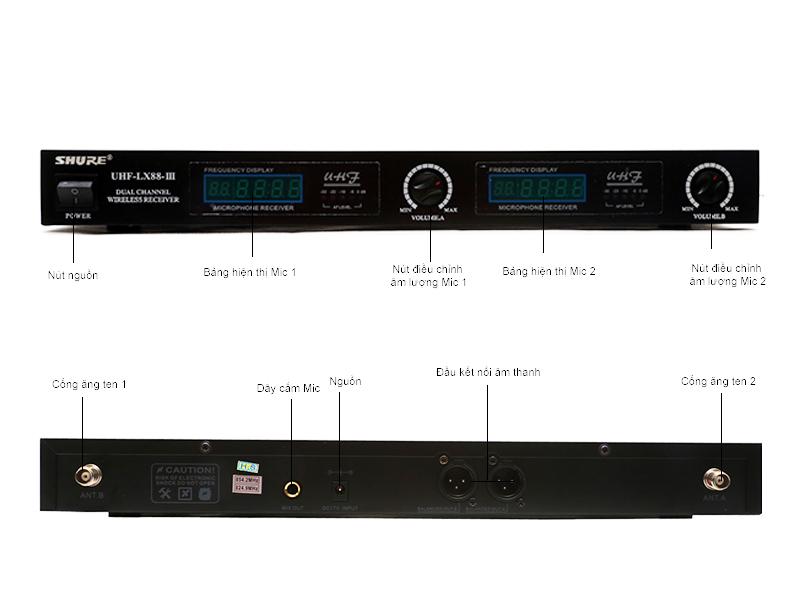 Micro không dây SHURE LX88III ( 02 Micro)