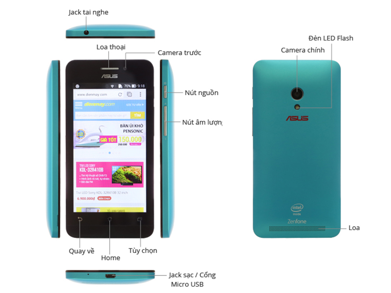 Điện thoại di động Asus A450CG Charcoal Black - ZenFone 4