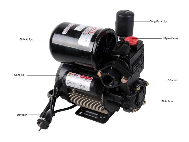 máy bơm SENA SEP150AE  tăng áp 2-3 tầng vỏ nhôm, rơle, Bình áp Hanil