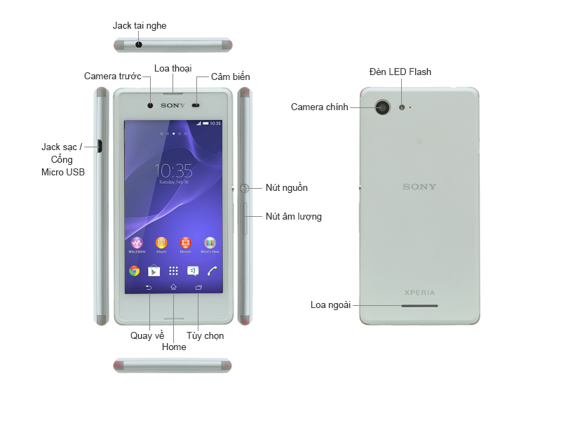 Sony XPERIA E3 D2202 - Trắng