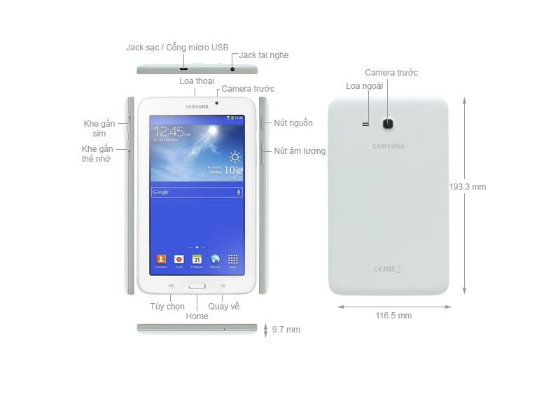 Máy tính bảng Samsung Galaxy Tab 3 V 7.0 3G - T116 Trắng