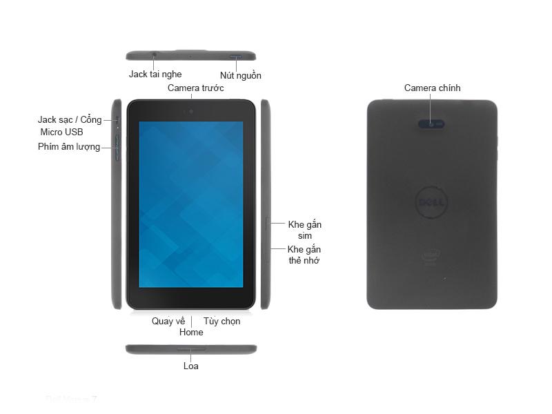 Máy tính bảng Dell Venue 7 3741 - Đen