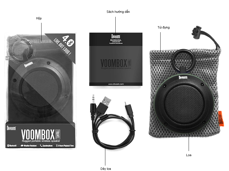 Loa Bluetooth Divoom Voombox-Travel - Đen
