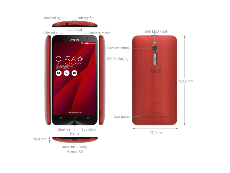 Asus Z00AD Zenfone 2 ZE551ML-6C299WW - Đỏ