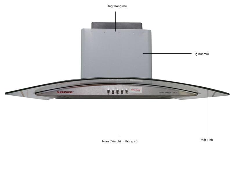 Máy hút mùi kính cong Sunhouse SHB-662770C