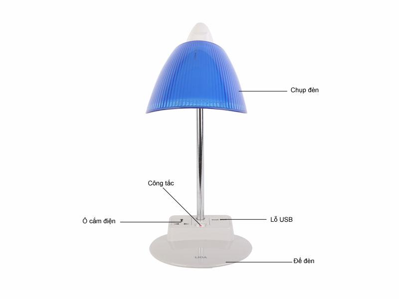 Đèn bàn khớp mềm LiOA LIDBM27USBD - Xanh