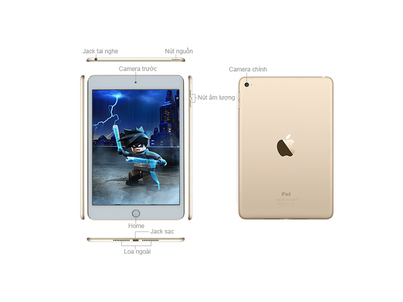 Apple iPad Mini 4 Wi-Fi - Vàng