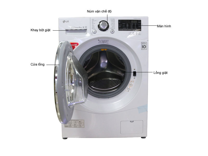 Máy giặt LG F1208NPRW - Trắng