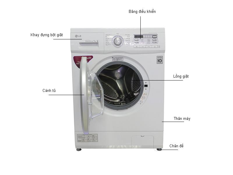 Máy giặt LG 7Kg Lồng ngang F1407NMPW - Trắng
