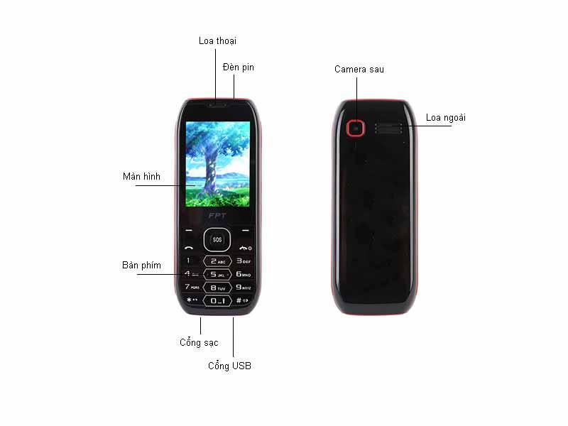 Điện thoại di động FPT CARE - Màu Đen Đỏ