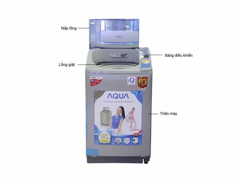 Máy giặt Aqua AQWF800Z2TS - Màu bạc