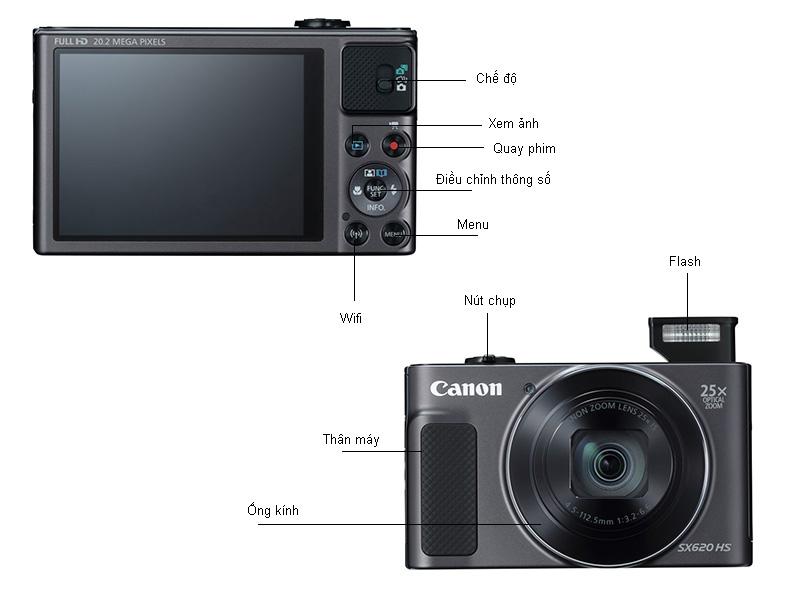 Máy ảnh Canon PowerShot SX620 HS - Màu đen